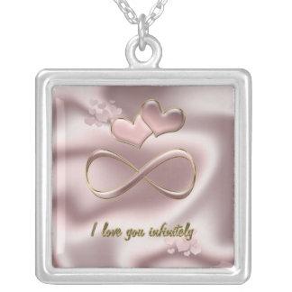 I love you infinitely Valentine's Day  pink hearts Custom Necklace