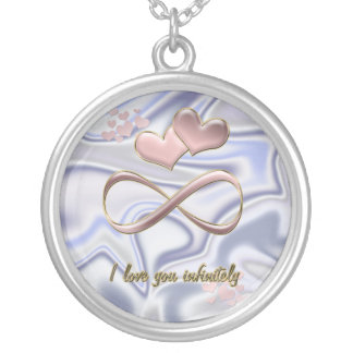 I love you infinitely Valentine's Day  pink hearts Silver Plated Necklace