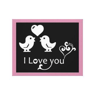 """I LOVE YOU"" LOVEBIRDS CANVAS PRINT"