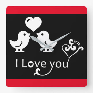 """I LOVE YOU"" LOVEBIRDS WALL CLOCKS"