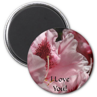 I Love You! Magent gits Pink Rhododendron Rhodies 6 Cm Round Magnet