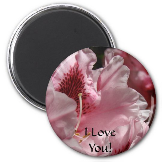 I Love You! Magent gits Pink Rhododendron Rhodies Magnet