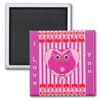 I Love You Magnet with Owl & Hearts