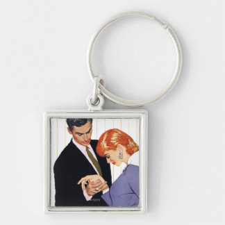 I Love You, Mama Girl Silver-Colored Square Key Ring