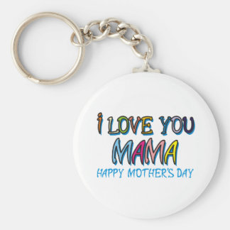 I Love You Mama Shirts Basic Round Button Key Ring