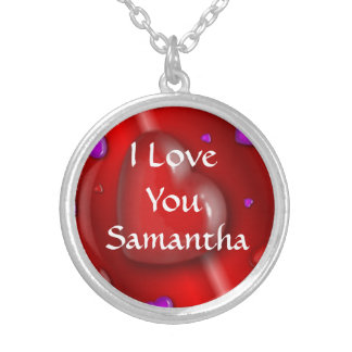 I love you modern personalized heart silver plated necklace