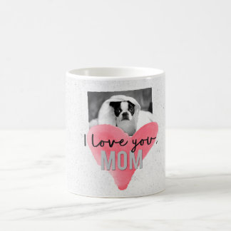 I Love You Mom Custom Photo Heart Mug