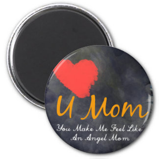 I love you mom heart grungy design 6 cm round magnet