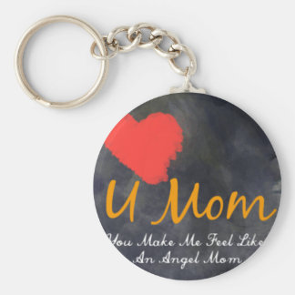 I love you mom heart grungy design basic round button key ring