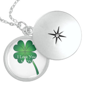 I LOVE YOU MOM Irish Lucky Sterling Silver LOCKET