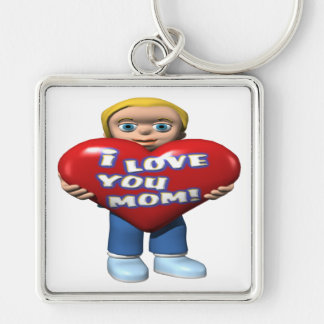 I Love You Mom Silver-Colored Square Key Ring