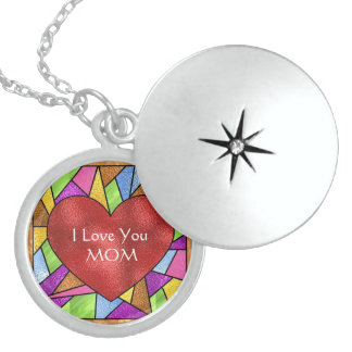 I LOVE YOU MOM  LOCKET Sterling Silver Necklace