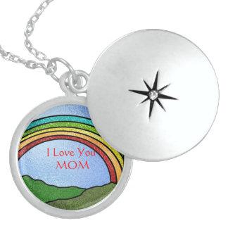 I LOVE YOU MOM Rainbow  LOCKET Necklace