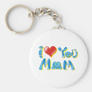I Love You Mom Shirts Basic Round Button Key Ring