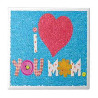 i love you mom small square tile