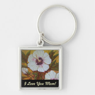 'I Love You Mom' White Hibiscus Mother's Day Key Chain