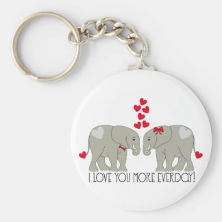 I Love You More Everday! Basic Round Button Key Ring