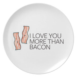 I Love you More Than Bacon Plates