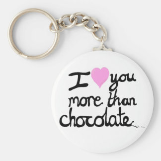 I love You More Than Chocolate Key Ring Basic Round Button Key Ring