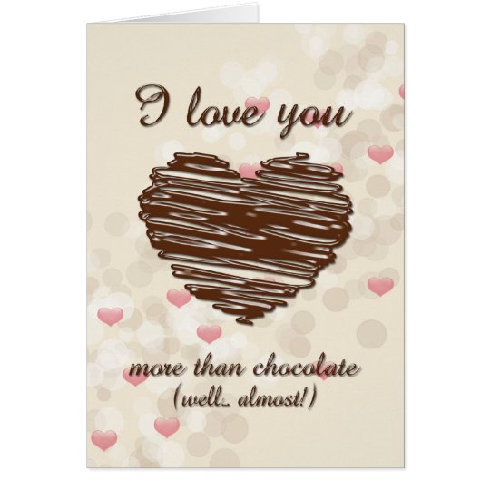 I love you more than chocolate pink hearts card