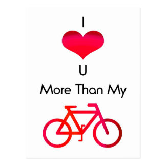 I love you more than my bike in white and red postcard