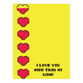I love you more than my game digital hearts postcard