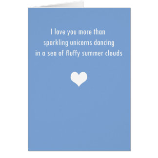 I Love You More Than Unicorns - Sky Blue - Card