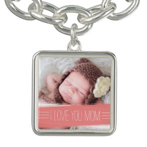 I Love You Mum | Coral Banner Photo Bracelet