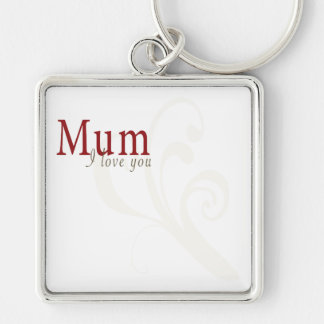 I Love You Mum Silver-Colored Square Key Ring