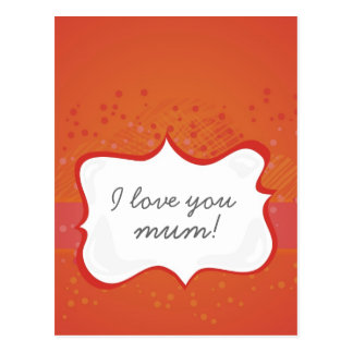 'I love you mum!' on red dots Postcard