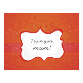 'I love you mum!' on red little dots Postcard