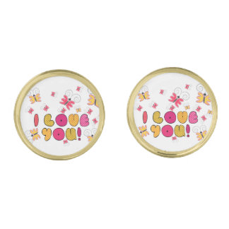 """""""I love you"""" note, best gift ideas Gold Finish Cufflinks"""