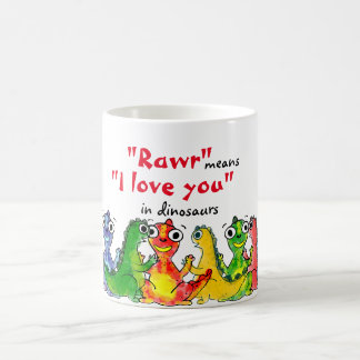 """I love you"" note with cute baby dinosaurs Coffee Mug"