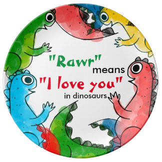 """I love you"" note with cute baby dinosaurs Plate"
