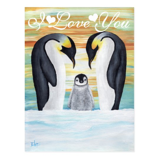 I Love You Penguin Family with Baby Penguin