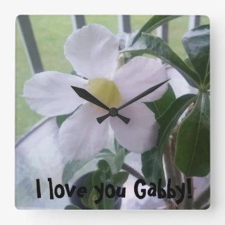 I love you Personalized Cute White Flower Clock