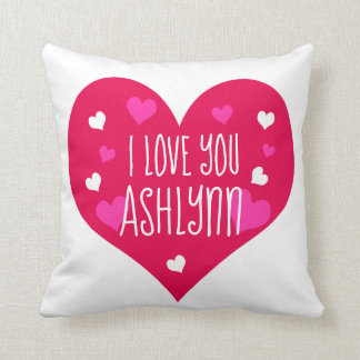 I Love You Personalized Hearts Cushion