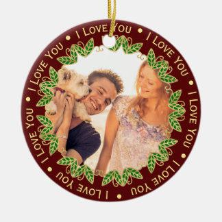I Love You Personalized Photo & Monogram Christmas Christmas Ornament