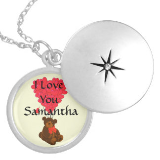 I love you personalized silver plated necklace