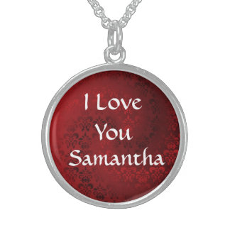 I love you personalized sterling silver necklace