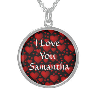 I love you personalized valentines day sterling silver necklace