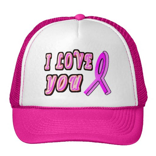 I Love You Pink Ribbon Trucker Hat