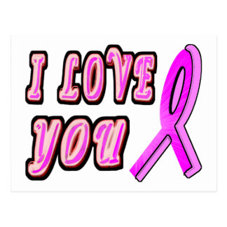I Love You Pink Ribbon Postcard