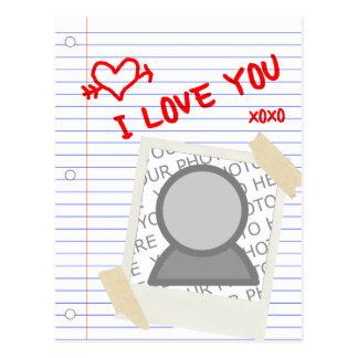 i love you : polaroid paper postcard