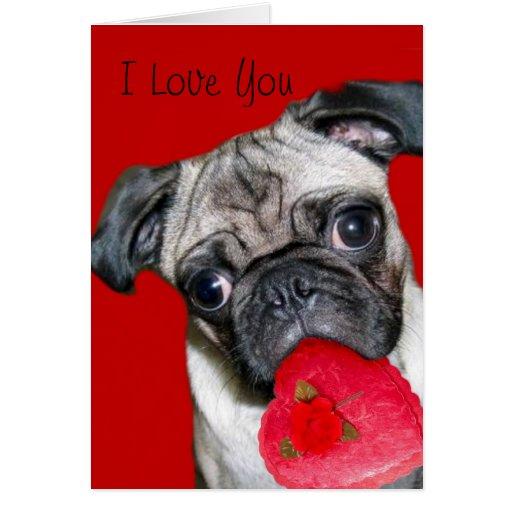 I Love You pug greeting card