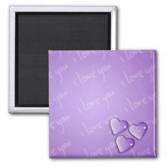 I Love You Purple Square Magnet
