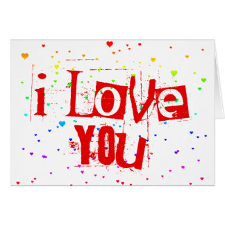 I LOVE YOU. raining rainbow hearts. Card