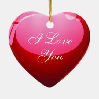 I Love You Red Heart Ceramic Heart Decoration
