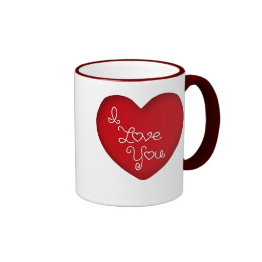 I Love You Red Heart Ringer Coffee Mug 15 oz