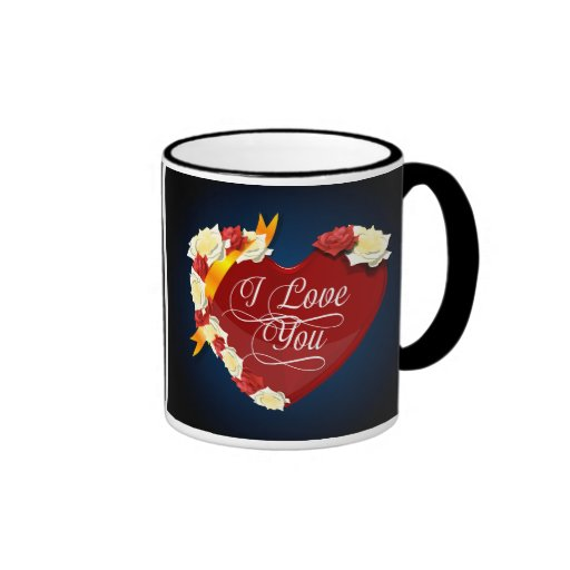I Love You, Red Heart/White Roses Coffee Mug